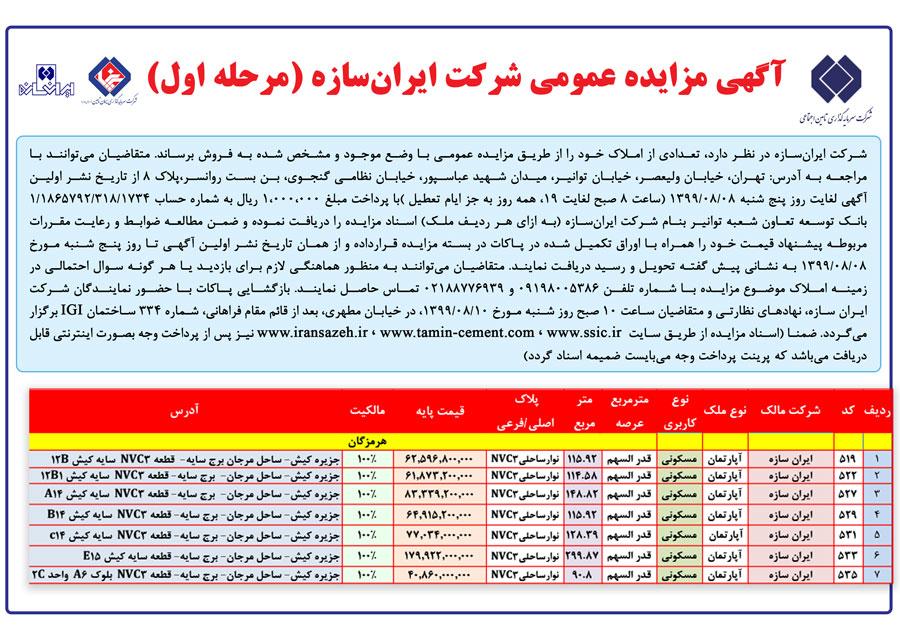 آگهی مزایده املاک ایرانسازه